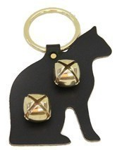 BLACK CAT LEATHER DOOR CHIME w/ SLEIGH BELLS - Amish Handmade in the USA - €16,61 EUR