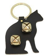 BLACK CAT LEATHER DOOR CHIME w/ SLEIGH BELLS - Amish Handmade in the USA - £15.03 GBP