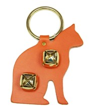 ORANGE CAT LEATHER DOOR CHIME w/ SLEIGH BELLS - Amish Handmade in the USA - $19.57