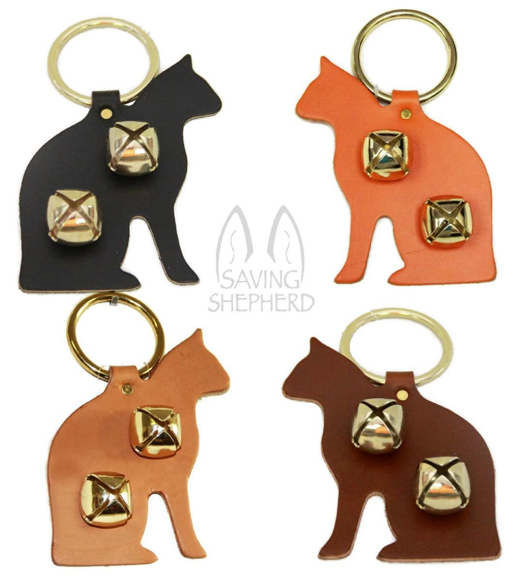 ORANGE CAT LEATHER DOOR CHIME w/ SLEIGH BELLS - Amish Handmade in the USA