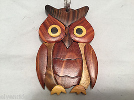 Hand carved multi colored brown shades grained wood owl ornament double sided image 2