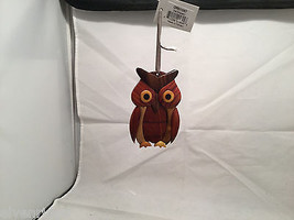 Hand carved multi colored brown shades grained wood owl ornament double sided image 3