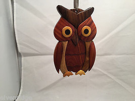 Hand carved multi colored brown shades grained wood owl ornament double sided image 4
