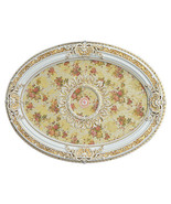 Chic Shabby French Country Victorian White/Gold Floral Ceiling Medallion - $362.35