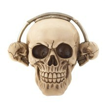 Rock On! Grinning Skull Wearing Skull Headphones Ready to Rock Roll Skul... - $838,26 MXN