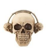 Rock On! Grinning Skull Wearing Skull Headphones Ready to Rock Roll Skul... - $44.50