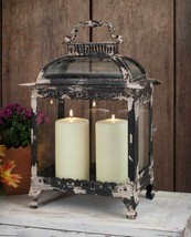 PRIMITIVE DISTRESSED LARGE METAL/GLASS LANTERN,... - $123.75