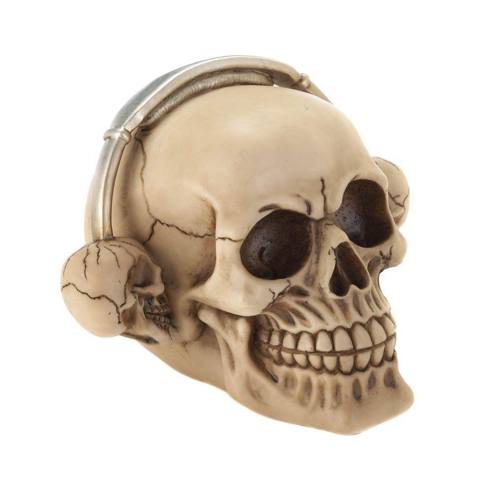 Rock On! Grinning Skull Wearing Skull Headphones Ready to Rock Roll Skull Decor