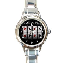 Ladies Round Italian Charm Bracelet Watch All Aces Gift model 30351289 - $11.99