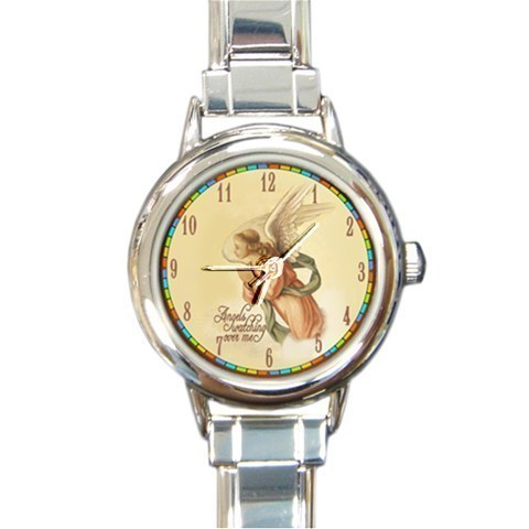 Ladies Round Italian Charm Bracelet Watch Angels Watching Over Me Gift 26560265