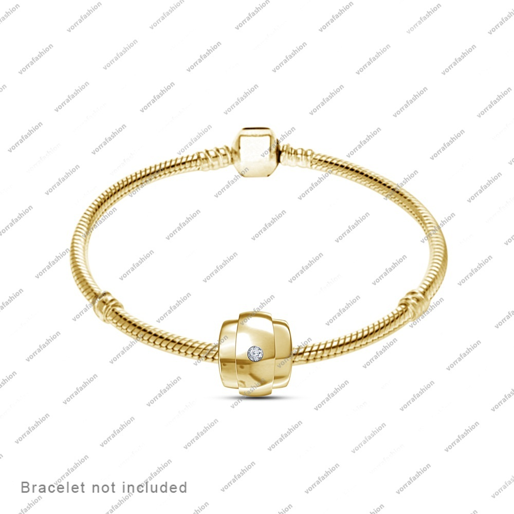 925 Sterling Silver Yellow Gold Fn. Charms Beads Fit Pandora Chamilia Bracelet