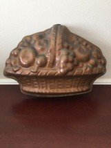 Vintage Coppertone Metal Tin Fruit Basket Mold Handing Wall Decor  - $13.10