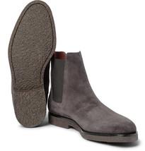 Handmade men dark gray color suede boot, Men gray crepe sole boot, Mens boot - $179.99