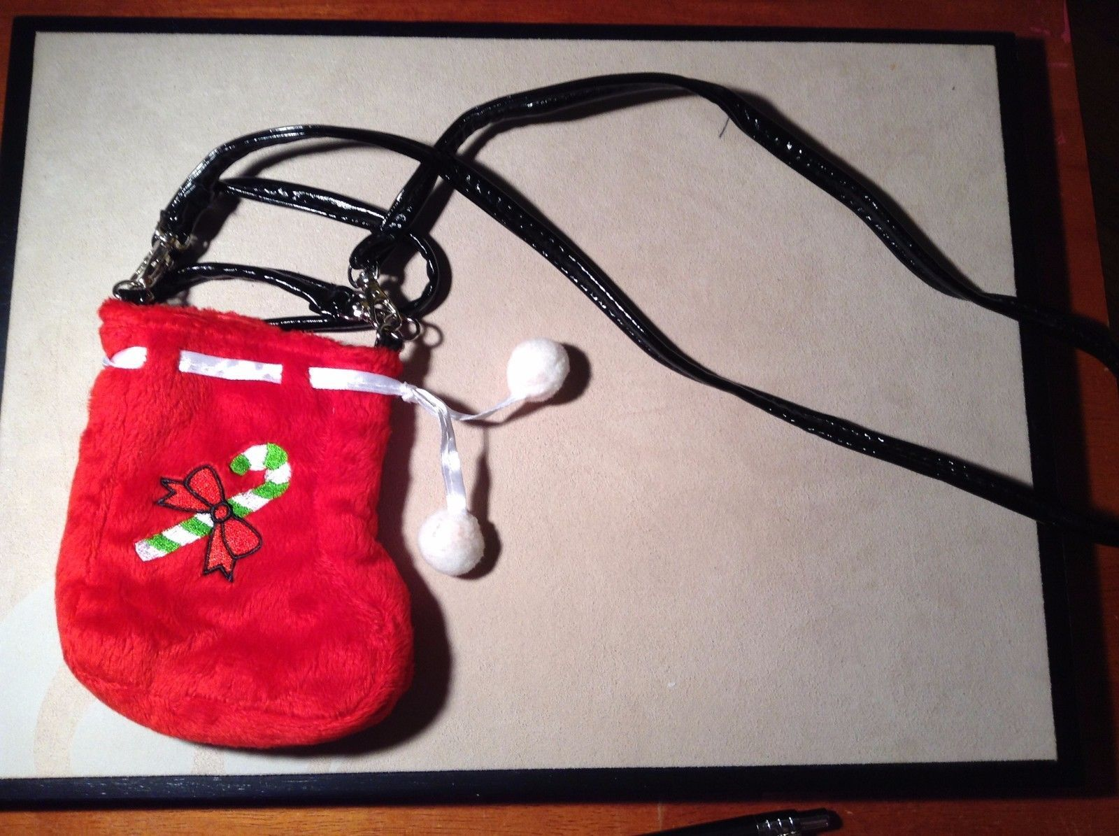 New Kristine Accessories Red Holiday Cell Phone Stocking Green Candy Cane Ribbon
