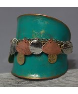 Green Patina Bracelet Silver Gold Copper Hammered Metal Disks & Chains S... - $13.99