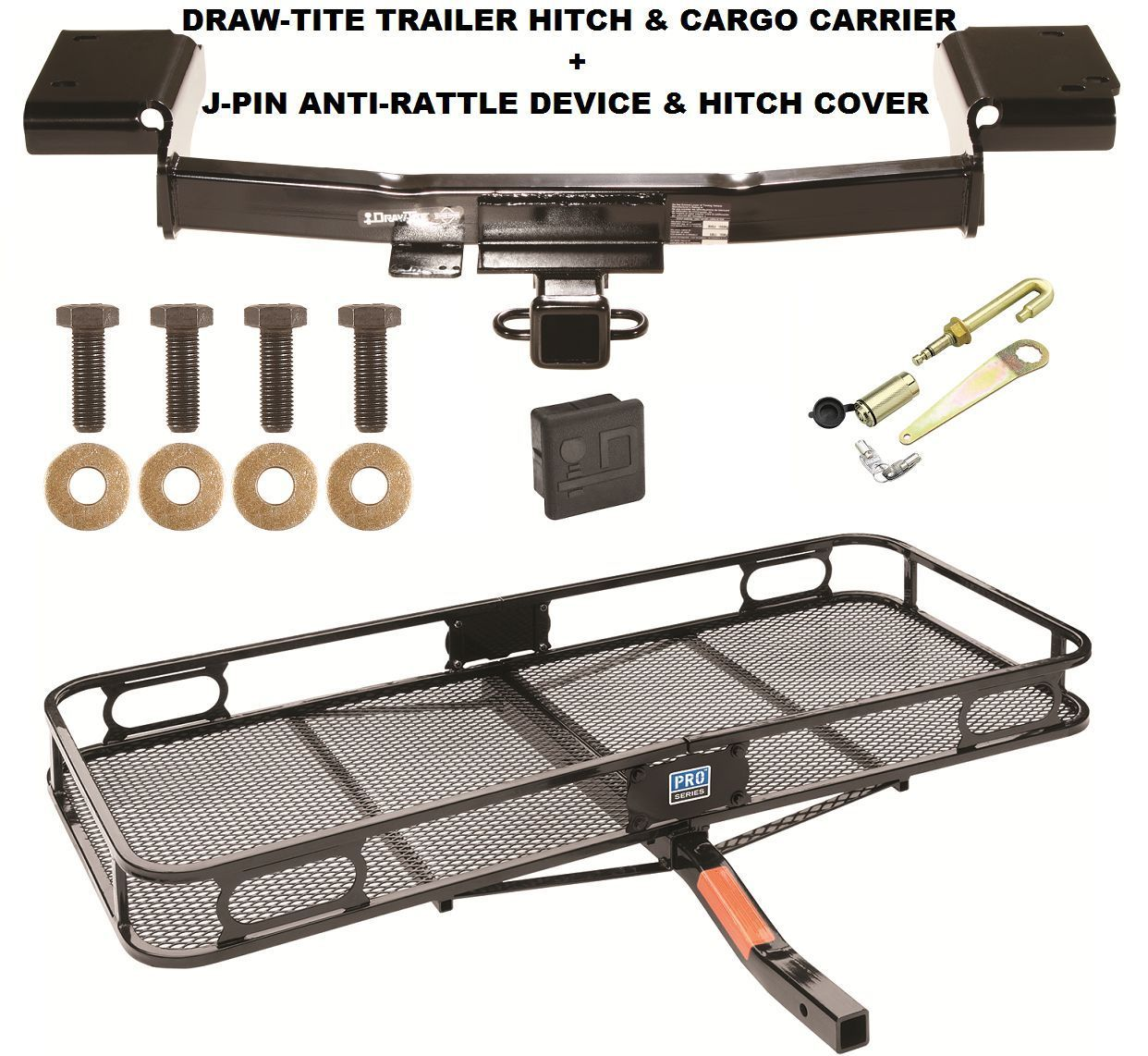 TRAILER HITCH + CARGO BASKET CARRIER + SILENT PIN LOCK FITS 10-15 HYUNDAI TUCSON