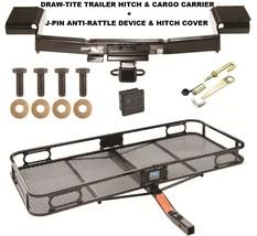 TRAILER HITCH + CARGO BASKET CARRIER + SILENT PIN LOCK FITS 10-15 HYUNDA... - $320.71