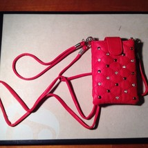 New Kristine Accessories Red Imitation Leather Studded Small Pouch Wallet Clip