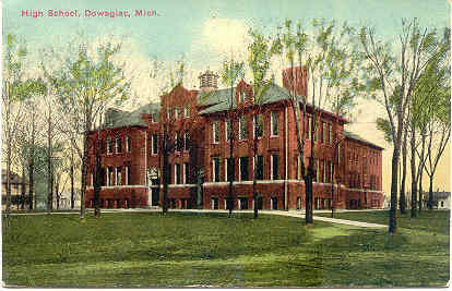 The High School Dowagiac Michigan Vintage Post Card