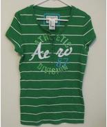 Womens Aeropostale NWT Stretch Green White Stripe Cap Sleeve  Shirt Size... - $14.95