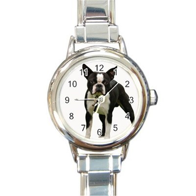 Ladies Round Italian Charm Bracelet Watch Boston Terrier Dog Pet Gift 26410820