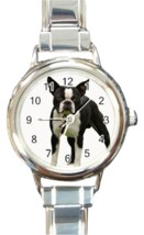Ladies Round Italian Charm Bracelet Watch Boston Terrier Dog Pet Gift 26... - £9.62 GBP