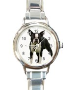 Ladies Round Italian Charm Bracelet Watch Boston Terrier Dog Pet Gift 26... - ₹852.66 INR