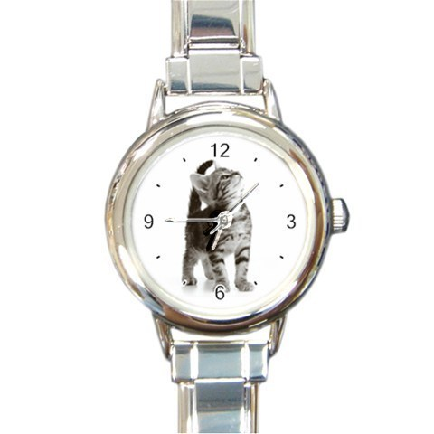 Ladies Round Italian Charm Bracelet Watch Curious Cat Pat Gift model 26390568