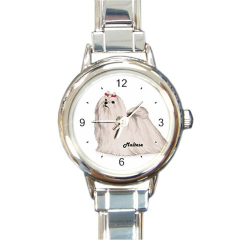 Ladies Round Italian Charm Bracelet Watch Cute Maltese Dog Gift model 26436356