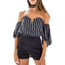 Elegant Strapless Striped Loose Sleeve Women Tops - $25.98