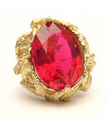 J and S Handmade 14kt Gold Man Made Ruby Claw C... - $798.00
