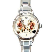Ladies Round Italian Charm Bracelet Watch Dance Of Kokopelli Gift model ... - $11.99