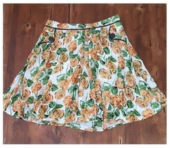 Downeast Floral Full Skirt Above Knee Lined Rayon Cotton Peach Green Medium M - $6.43