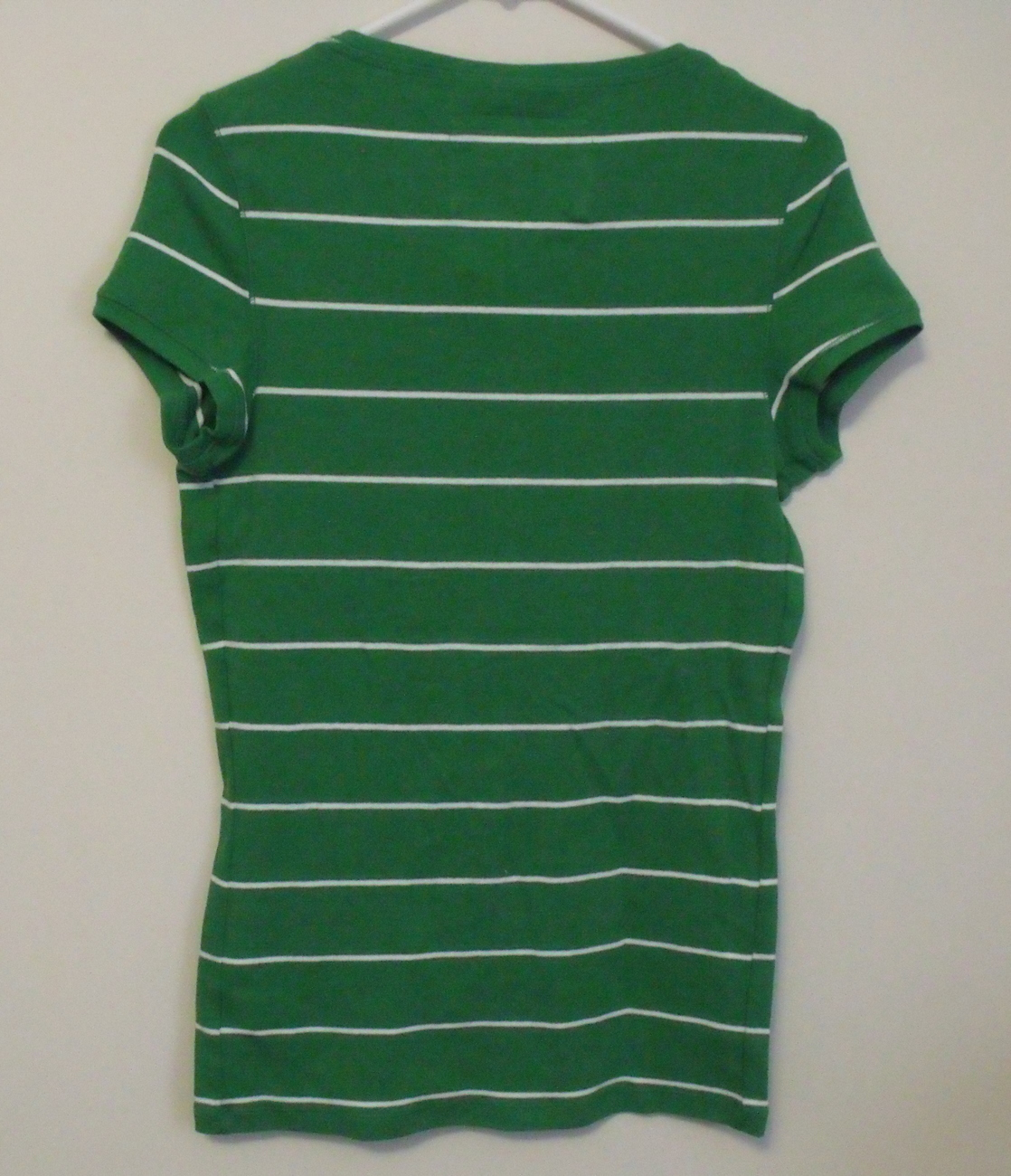 Womens Aeropostale NWT Stretch Green White Stripe Cap Sleeve  Shirt Size XXL