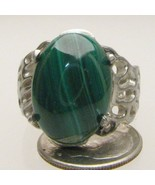 Handmade Sterling Silver Malachite Lava Ring - $84.00