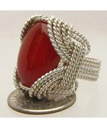 Wire Wrapped Sterling Silver Handmade CarnelianRing - $100.00