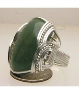 Handmade Wire Wrapped 925 Sterling Green Moss Agate Ring - $125.00