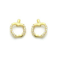 14K GOLD PLATED EARRINGS APPLE  SCREW BACK ON SALE ! - $11.76