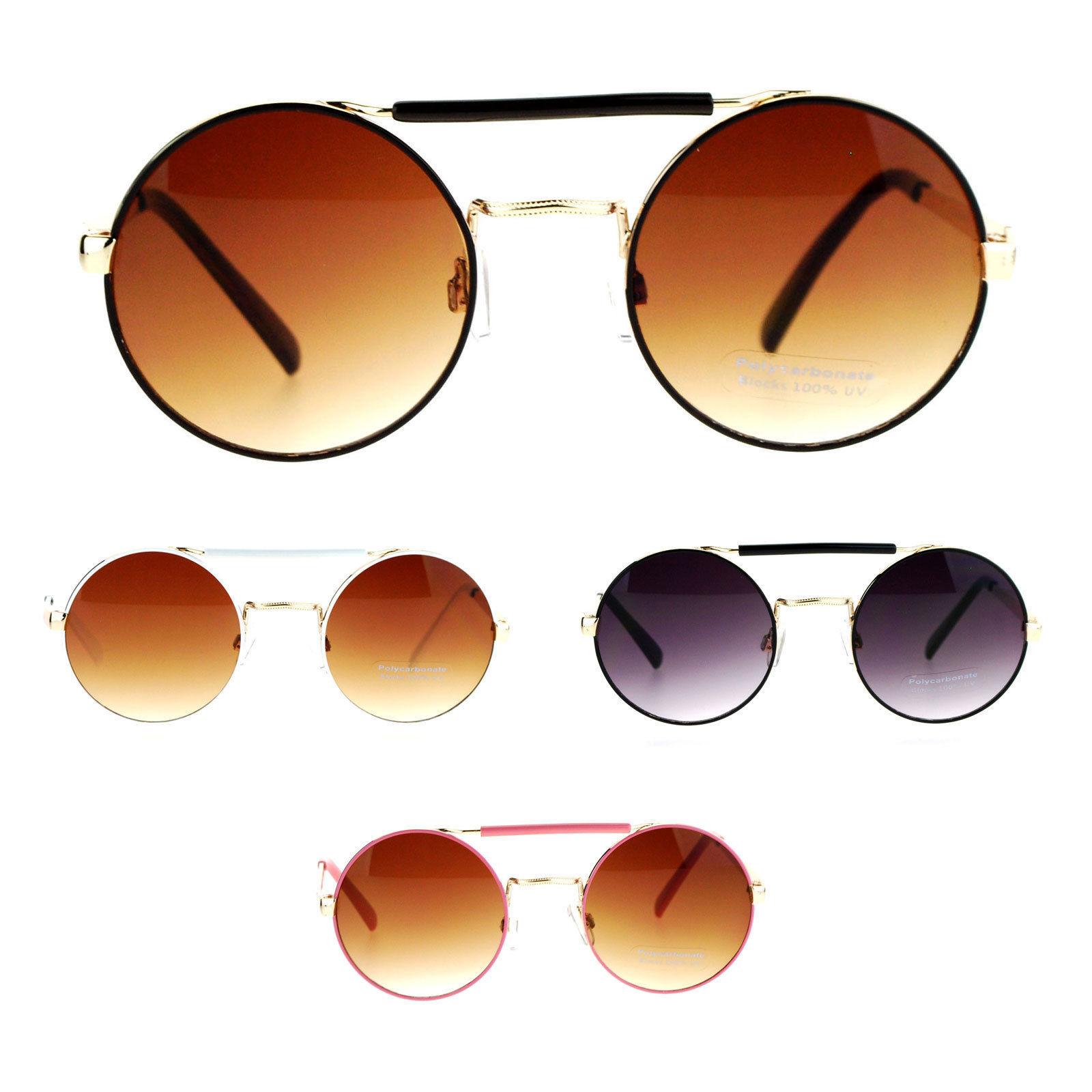 SA106 Womens Top Bridge Round Circle Lens Retro Hippie Sunglasses