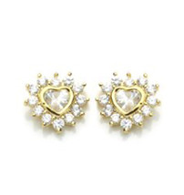14K GOLD PLATED EARRINGS HEART  Screw Back ON SALE THIS WEEK! - $9.78