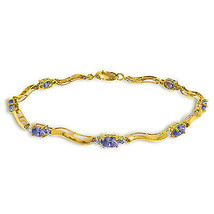 2.01 Ctw 14K Solid Gold Fine Bracelet with Authentic Natural Tanzanite D... - $432.00