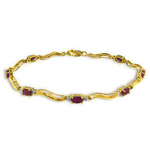 2.01 Carat 14K Solid Gold Fine Bracelet with Authentic Natural Ruby Diam... - $432.00