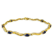 2.01 Carat 14K Solid Gold Fine Bracelet with Authentic Natural Sapphire ... - $432.00