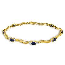2.01 Carat 14K Solid Gold Fine Bracelet with Authentic Natural Sapphire ... - €379,24 EUR