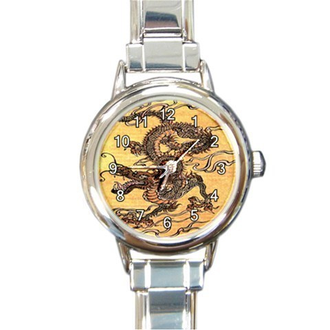 Ladies Round Italian Charm Bracelet Watch Japanese Dragon Gift model 30332395