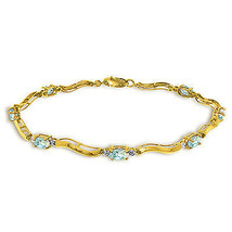 2.01 Ctw 14K Solid Gold Fine Bracelet with Authentic Natural Aquamarine ... - $432.00