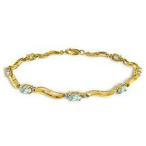 2.01 Ctw 14K Solid Gold Fine Bracelet with Authentic Natural Aquamarine ... - €379,24 EUR