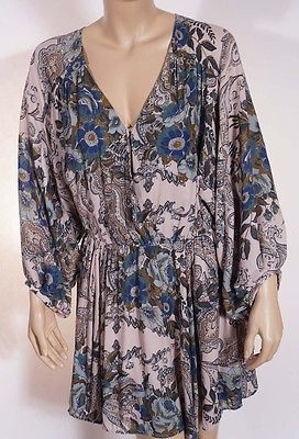 Free People Womens Beige Green Floral V Neck 3/4 Sleeve Above Knee Dress M