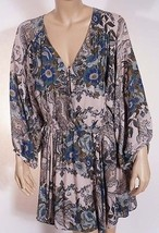 Free People Womens Beige Green Floral V Neck 3/4 Sleeve Above Knee Dress M - $39.99