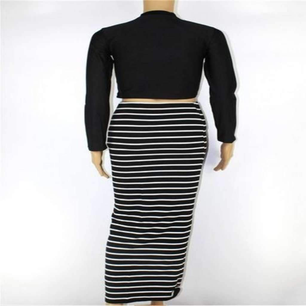 Sexy Long Sleeve Striped Pencil Dress, Two Piece Set